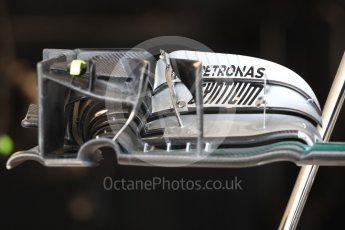 World © Octane Photographic Ltd. Mercedes AMG Petronas W07 Hybrid front wing. Thursday 20th October 2016, F1 USA Grand Prix, Austin, Texas – Circuit of the Americas (COTA). Digital Ref :