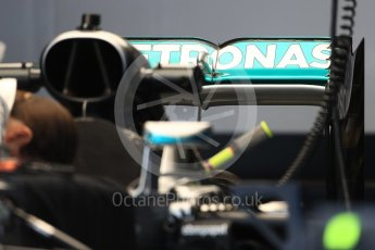 World © Octane Photographic Ltd. Mercedes AMG Petronas W07 Hybrid rear wing. Thursday 20th October 2016, F1 USA Grand Prix, Austin, Texas – Circuit of the Americas (COTA). Digital Ref :