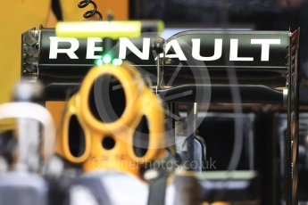 World © Octane Photographic Ltd. Renault Sport F1 Team RS16 rear wing. Thursday 20th October 2016, F1 USA Grand Prix, Austin, Texas – Circuit of the Americas (COTA). Digital Ref :