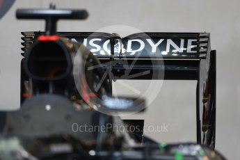 World © Octane Photographic Ltd. McLaren Honda MP4-31 rear wing. Thursday 20th October 2016, F1 USA Grand Prix, Austin, Texas – Circuit of the Americas (COTA). Digital Ref :