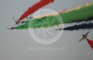 World © Octane Photographic Ltd. UAE Al Fursan (The Knights) Air Display Team – Aermacchi MB-339A. Saturday 25th November 2017, F1 Abu Dhabi GP - Yas Marina circuit, Abu Dhabi. Digital Ref : 2011CB1L8227