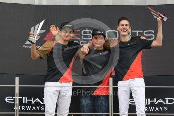 World © Octane Photographic Ltd. F1 eSports podium - Abu Dhabi, Yas Marina Circuit - 26 November 2017.Brendon Leigh (Champion), Fabrizio Donoso Delgado (2nd), Sven Zurner (3rd)