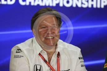 World © Octane Photographic Ltd. Formula 1 - Abu Dhabi Grand Prix – Friday Team Press Conference – Part 2. Zak Brown - Executive Director of McLaren Technology Group. Yas Marina Circuit, Abu Dhabi. Friday 24th November 2017. Digital Ref: