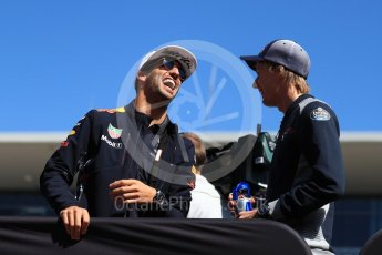 World © Octane Photographic Ltd. Formula 1 - American Grand Prix - Sunday - Drivers Parade. Daniel Ricciardo - Red Bull Racing and Brendon Hartley - Scuderia Toro Rosso. Circuit of the Americas, Austin, Texas, USA. Sunday 22nd October 2017. Digital Ref: 1993LB1D8883