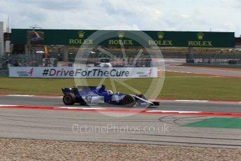 World © Octane Photographic Ltd. Formula 1 - American Grand Prix - Friday - Practice 2. Marcus Ericsson – Sauber F1 Team C36. Circuit of the Americas, Austin, Texas, USA. Friday 20th October 2017. Digital Ref: 1987LB2D6462