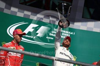 World © Octane Photographic Ltd. Formula 1 - American Grand Prix - Sunday - Race Podium. Lewis Hamilton - Mercedes AMG Petronas F1 W08 EQ Energy+. Circuit of the Americas, Austin, Texas, USA. Sunday 22nd October 2017. Digital Ref: