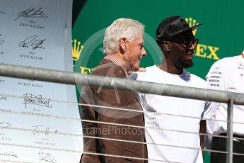 World © Octane Photographic Ltd. Formula 1 - American Grand Prix - Sunday - Race Podium. Bill Clinton and Usain Bolt. Circuit of the Americas, Austin, Texas, USA. Sunday 22nd October 2017. Digital Ref: 1995LB1D0717