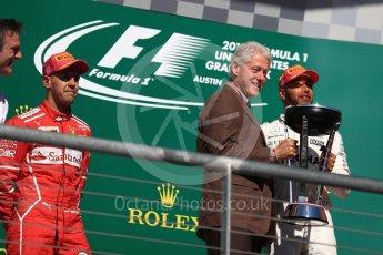World © Octane Photographic Ltd. Formula 1 - American Grand Prix - Sunday - Race Podium. Lewis Hamilton - Mercedes AMG Petronas F1 W08 EQ Energy+ and Bill Clinton. Circuit of the Americas, Austin, Texas, USA. Sunday 22nd October 2017. Digital Ref: 1995LB1D0759