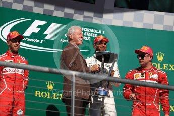 World © Octane Photographic Ltd. Formula 1 - American Grand Prix - Sunday - Race Podium. Lewis Hamilton - Mercedes AMG Petronas F1 W08 EQ Energy+ and Bill Clinton. Circuit of the Americas, Austin, Texas, USA. Sunday 22nd October 2017. Digital Ref: 1995LB1D0764