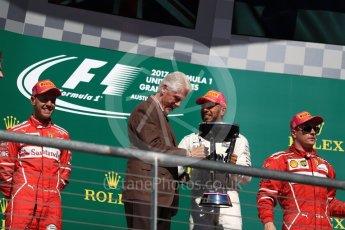 World © Octane Photographic Ltd. Formula 1 - American Grand Prix - Sunday - Race Podium. Lewis Hamilton - Mercedes AMG Petronas F1 W08 EQ Energy+ and Bill Clinton. Circuit of the Americas, Austin, Texas, USA. Sunday 22nd October 2017. Digital Ref: 1995LB1D0781