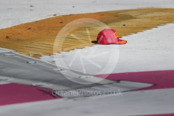 World © Octane Photographic Ltd. Formula 1 - American Grand Prix - Sunday - Race Podium. Kimi Raikkonen - Scuderia Ferrari podium hat. Circuit of the Americas, Austin, Texas, USA. Sunday 22nd October 2017. Digital Ref: 1995LB1D0926