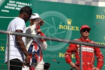 World © Octane Photographic Ltd. Formula 1 - American Grand Prix - Sunday - Race Podium. Lewis Hamilton - Mercedes AMG Petronas F1 W08 EQ Energy+ and Usain Bolt. Circuit of the Americas, Austin, Texas, USA. Sunday 22nd October 2017. Digital Ref: 1995LB1D1061
