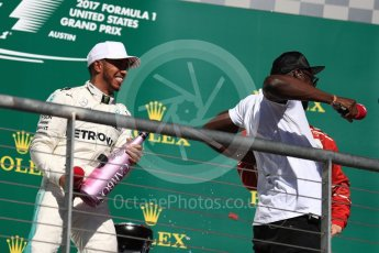 World © Octane Photographic Ltd. Formula 1 - American Grand Prix - Sunday - Race Podium. Lewis Hamilton - Mercedes AMG Petronas F1 W08 EQ Energy+ and Usain Bolt. Circuit of the Americas, Austin, Texas, USA. Sunday 22nd October 2017. Digital Ref: 1995LB1D1171