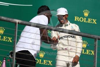 World © Octane Photographic Ltd. Formula 1 - American Grand Prix - Sunday - Race Podium. Lewis Hamilton - Mercedes AMG Petronas F1 W08 EQ Energy+ and Usain Bolt. Circuit of the Americas, Austin, Texas, USA. Sunday 22nd October 2017. Digital Ref: 1995LB1D1215