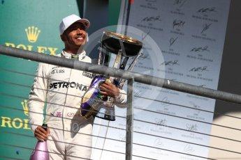 World © Octane Photographic Ltd. Formula 1 - American Grand Prix - Sunday - Race Podium. Lewis Hamilton - Mercedes AMG Petronas F1 W08 EQ Energy+. Circuit of the Americas, Austin, Texas, USA. Sunday 22nd October 2017. Digital Ref: 1995LB1D1279