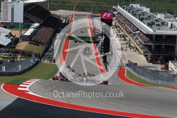 World © Octane Photographic Ltd. Formula 1 - American Grand Prix - Sunday - Race. Lewis Hamilton - Mercedes AMG Petronas F1 W08 EQ Energy+ starts on pole but Sebastian Vettel - Scuderia Ferrari SF70H makes a good move into Turn 1. Circuit of the Americas, Austin, Texas, USA. Sunday 22nd October 2017. Digital Ref: 1994LB2D7222