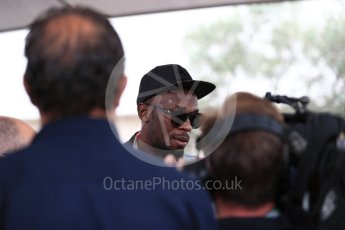 World © Octane Photographic Ltd. Formula 1 - American Grand Prix - Sunday - Paddock. Usain Bolt meets with the media. Circuit of the Americas, Austin, Texas, USA. Sunday 22nd October 2017. Digital Ref: 1992LB1D8180