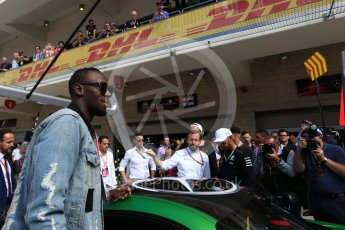 World © Octane Photographic Ltd. Formula 1 - American Grand Prix - Sunday - Paddock. Lewis Hamilton takes Usain Bolt on a Hot Lap of COTA. Circuit of the Americas, Austin, Texas, USA. Sunday 22nd October 2017. Digital Ref: 1992LB2D6856
