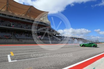 World © Octane Photographic Ltd. Formula 1 - American Grand Prix - Sunday - Paddock. Lewis Hamilton takes Usain Bolt on a Hot Lap of COTA. Circuit of the Americas, Austin, Texas, USA. Sunday 22nd October 2017. Digital Ref: 1992LB2D6939