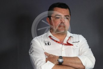 World © Octane Photographic Ltd. Formula 1 - Austria Grand Prix – FIA Team Press Conference, Part 1. Eric Boullier - Racing Director of McLaren Honda. Red Bull Ring, Spielberg, Austria. Friday 7th July 2017. Digital Ref: 1866LB1D1464
