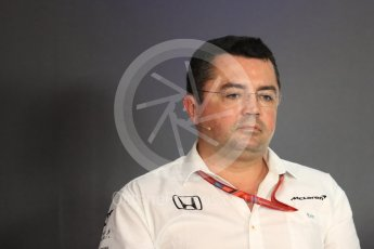 World © Octane Photographic Ltd. Formula 1 - Austria Grand Prix – FIA Team Press Conference, Part 1. Eric Boullier - Racing Director of McLaren Honda. Red Bull Ring, Spielberg, Austria. Friday 7th July 2017. Digital Ref: 1866LB1D1500