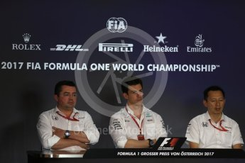 World © Octane Photographic Ltd. Formula 1 - Austria Grand Prix – FIA Team Press Conference, Part 1. Eric Boullier - Racing Director of McLaren Honda, Yusuke Hasegawa – Chief of Honda F1 project and Toto Wolff - Executive Director & Head of Mercedes-Benz Motorsport. Red Bull Ring, Spielberg, Austria. Friday 7th July 2017. Digital Ref: 1866LB2D5691