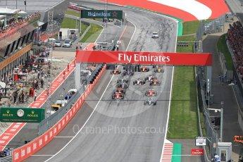 World © Octane Photographic Ltd. Formula 1 - Austria Grand Prix - Sunday - Race. Valtteri Bottas - Mercedes AMG Petronas F1 W08 EQ Energy+ leads race start. Red Bull Ring, Spielberg, Austria. Sunday 9th July 2017. Digital Ref: 1875LB1D4768
