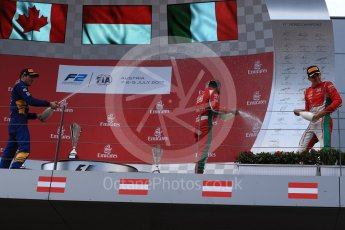 World © Octane Photographic Ltd. Formula 1 - Austria Grand Prix - Saturday - FIA Formula 2 Race 1. Charles Leclerc - PREMA Racing, Nicholas Latifi - DAMS and Antonio Fuoco - PREMA Racing. Red Bull Ring, Spielberg, Austria. Saturday 8th July 2017. Digital Ref: 1863LB1D3375