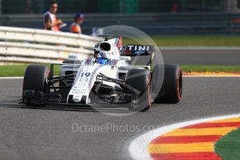 World © Octane Photographic Ltd. Formula 1 - Belgian Grand Prix - Friday - Practice 1. Felipe Massa - Williams Martini Racing FW40. Circuit de Spa Francorchamps, Belgium. Friday 25th August 2017. Digital Ref:1922LB1D4927