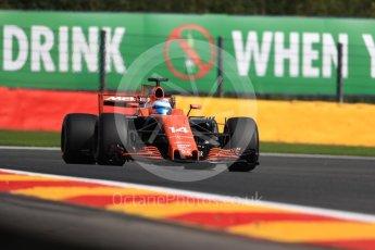 World © Octane Photographic Ltd. Formula 1 - Belgian Grand Prix - Friday - Practice 1. Fernando Alonso - McLaren Honda MCL32. Circuit de Francorchamps, Belgium. Friday 25th August 2017. Digital Ref:1922LB1D5183