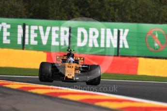 World © Octane Photographic Ltd. Formula 1 - Belgian Grand Prix - Friday - Practice 1. Jolyon Palmer - Renault Sport F1 Team R.S.17. Circuit de Francorchamps, Belgium. Friday 25th August 2017. Digital Ref:1922LB1D5243