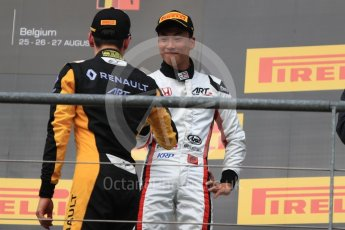 World © Octane Photographic Ltd. GP3 - Race 1. Jack Aitken (2nd) and Nirei Fukuzumi (3rd) - ART Grand Prix. Belgian Grand Pix - Spa Francorchamps, Belgium. Saturday 26th August 2017. Digital Ref:1927LB1D7433