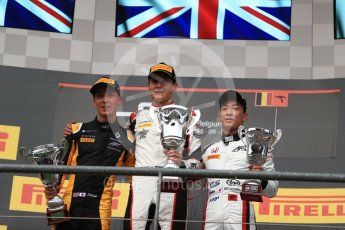 World © Octane Photographic Ltd. GP3 - Race 1. George Russell (1st), Jack Aitken (2nd) and Nirei Fukuzumi (3rd) - ART Grand Prix. Belgian Grand Pix - Spa Francorchamps, Belgium. Saturday 26th August 2017. Digital Ref:1927LB1D7580