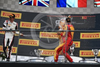 World © Octane Photographic Ltd. GP3 - Race 2. Guiliano Alsei (1st) – Trident, George Russell (2nd) - ART Grand Prix and Ryan Tveter (3rd) – Trident. Belgian Grand Pix - Spa Francorchamps, Belgium. Sunday 27th August 2017. Digital Ref: 1930LB1D7772