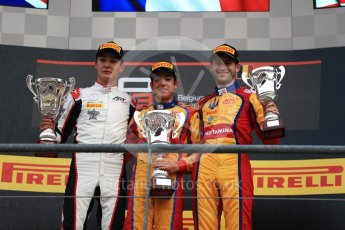 World © Octane Photographic Ltd. GP3 - Race 2. Guiliano Alsei (1st) – Trident, George Russell (2nd) - ART Grand Prix and Ryan Tveter (3rd) – Trident. Belgian Grand Pix - Spa Francorchamps, Belgium. Sunday 27th August 2017. Digital Ref: 1930LB1D7786