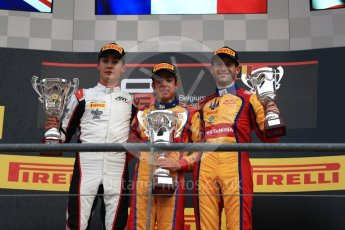 World © Octane Photographic Ltd. GP3 - Race 2. Guiliano Alsei (1st) – Trident, George Russell (2nd) - ART Grand Prix and Ryan Tveter (3rd) – Trident. Belgian Grand Pix - Spa Francorchamps, Belgium. Sunday 27th August 2017. Digital Ref: 1930LB1D7796