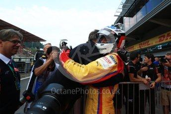 World © Octane Photographic Ltd. GP3 - Race 2. Guiliano Alsei with father Jean – Trident. Belgian Grand Pix - Spa Francorchamps, Belgium. Sunday 27th August 2017. Digital Ref: 1930LB2D7077