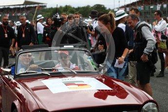 World © Octane Photographic Ltd. Formula 1 - British Grand Prix - Sunday - Drivers Parade. Sebastian Vettel - Scuderia Ferrari SF70H. Silverstone, UK. Sunday 16th July 2017. Digital Ref: 1891LB1D3554