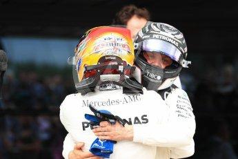 World © Octane Photographic Ltd. Formula 1 - British Grand Prix - Sunday - Race Podium. Lewis Hamilton and Valtteri Bottas Mercedes AMG Petronas F1 W08 EQ Energy+. Silverstone, UK. Sunday 16th July 2017. Digital Ref: 1893LB1D4495