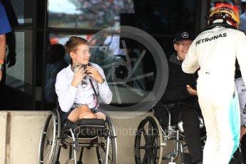 World © Octane Photographic Ltd. Formula 1 - British Grand Prix - Sunday - Race Podium. Lewis Hamilton - Mercedes AMG Petronas F1 W08 EQ Energy+ and Billy Monger #BillyWhizz. Silverstone, UK. Sunday 16th July 2017. Digital Ref: 1893LB1D4575