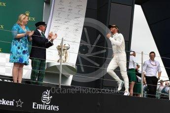 World © Octane Photographic Ltd. Formula 1 - British Grand Prix - Sunday - Race Podium. Lewis Hamilton - Mercedes AMG Petronas F1 W08 EQ Energy+. Silverstone, UK. Sunday 16th July 2017. Digital Ref: 1893LB1D4656