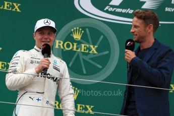 World © Octane Photographic Ltd. Formula 1 - British Grand Prix - Sunday - Race Podium. Lewis Hamilton - Mercedes AMG Petronas F1 W08 EQ Energy+ and Jenson Button. Silverstone, UK. Sunday 16th July 2017. Digital Ref: 1893LB1D5252