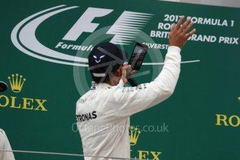 World © Octane Photographic Ltd. Formula 1 - British Grand Prix - Sunday - Race Podium. Lewis Hamilton - Mercedes AMG Petronas F1 W08 EQ Energy+. Silverstone, UK. Sunday 16th July 2017. Digital Ref: 1893LB1D5277