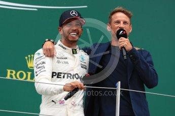 World © Octane Photographic Ltd. Formula 1 - British Grand Prix - Sunday - Race Podium. Lewis Hamilton - Mercedes AMG Petronas F1 W08 EQ Energy+ and Jenson Button. Silverstone, UK. Sunday 16th July 2017. Digital Ref: 1893LB1D5333