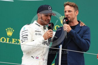 World © Octane Photographic Ltd. Formula 1 - British Grand Prix - Sunday - Race Podium. Lewis Hamilton - Mercedes AMG Petronas F1 W08 EQ Energy+ and Jenson Button. Silverstone, UK. Sunday 16th July 2017. Digital Ref: 1893LB1D5353