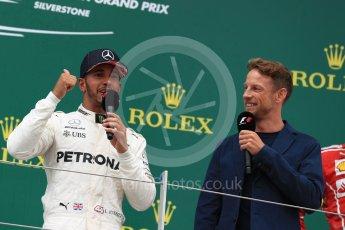 World © Octane Photographic Ltd. Formula 1 - British Grand Prix - Sunday - Race Podium. Lewis Hamilton - Mercedes AMG Petronas F1 W08 EQ Energy+ and Jenson Button. Silverstone, UK. Sunday 16th July 2017. Digital Ref: 1893LB1D5375