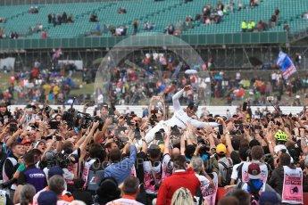 World © Octane Photographic Ltd. Formula 1 - British Grand Prix - Sunday - Race Podium. Lewis Hamilton - Mercedes AMG Petronas F1 W08 EQ Energy+ crowd surfs. Silverstone, UK. Sunday 16th July 2017. Digital Ref: 1893LB1D5469