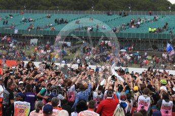 World © Octane Photographic Ltd. Formula 1 - British Grand Prix - Sunday - Race Podium. Lewis Hamilton - Mercedes AMG Petronas F1 W08 EQ Energy+ crowd surfs. Silverstone, UK. Sunday 16th July 2017. Digital Ref: 1893LB1D5474