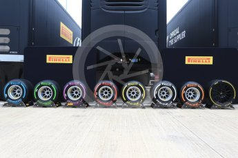 World © Octane Photographic Ltd. Formula 1 - British Grand Prix - Paddock. Pirelli tyres. Silverstone, UK. Sunday 16th July 2017. Digital Ref: 1890LB2D9612