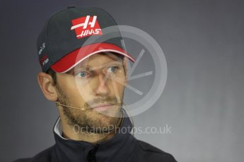 World © Octane Photographic Ltd. Formula 1 - British Grand Prix - Thursday - FIA Driver Press Conference. Romain Grosjean - Haas F1 Team. Silverstone, UK. Thursday 13th July 2017. Digital Ref: 1877LB1D7092